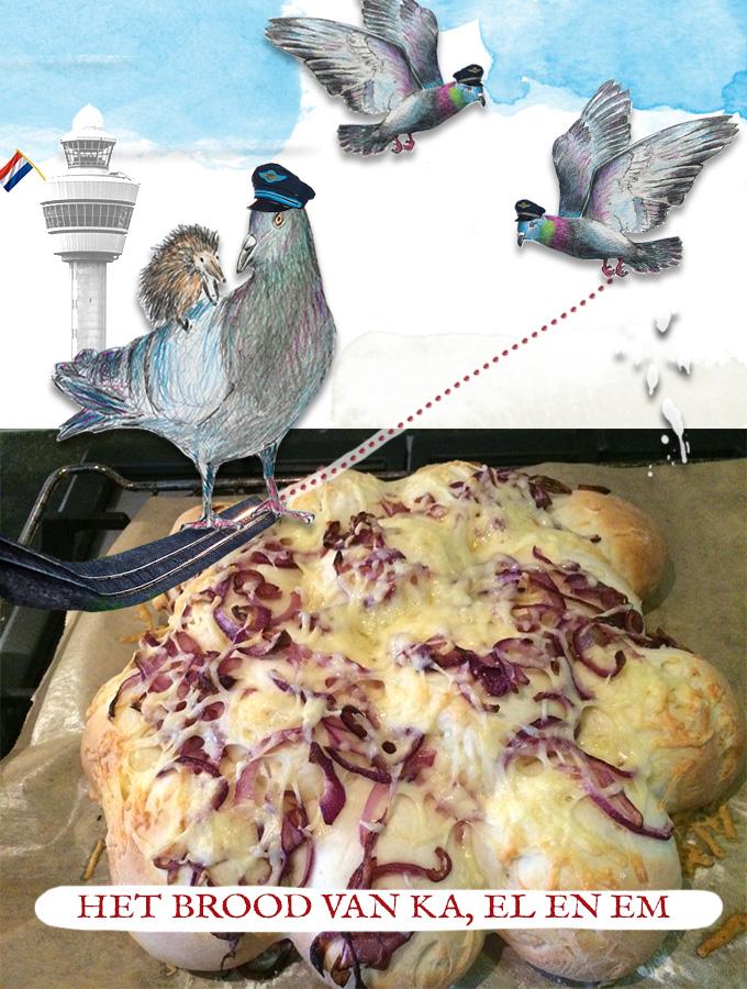 Ingrediënten: - 1 x recept van breekbrood (L) - 2 rode uien, gepeld en in ringen gesneden - Boter - Geraspte kaas Zo maak je het brood: 1. Bereid het breekbrood tot en met stap 7. 2. Fruit in wat de uien voor zo'n 4 minuten. 3. Beleg de bovenkant met het ui. 4. Bestrooi het brood met kaas. 5. Bak het brood in 20 minuten gaar, in een op 200 graden voorverwarmde oven. Combineer dit brood met bijvoorbeeld en zelfgemaakte pesto, een courgettesoep of uiensoep. Óf presenteer dit brood af als borrelhapje; en beleg dan het brood met ansjovis, kappertjes en een hard schimmelkaasje zoals Stilton.