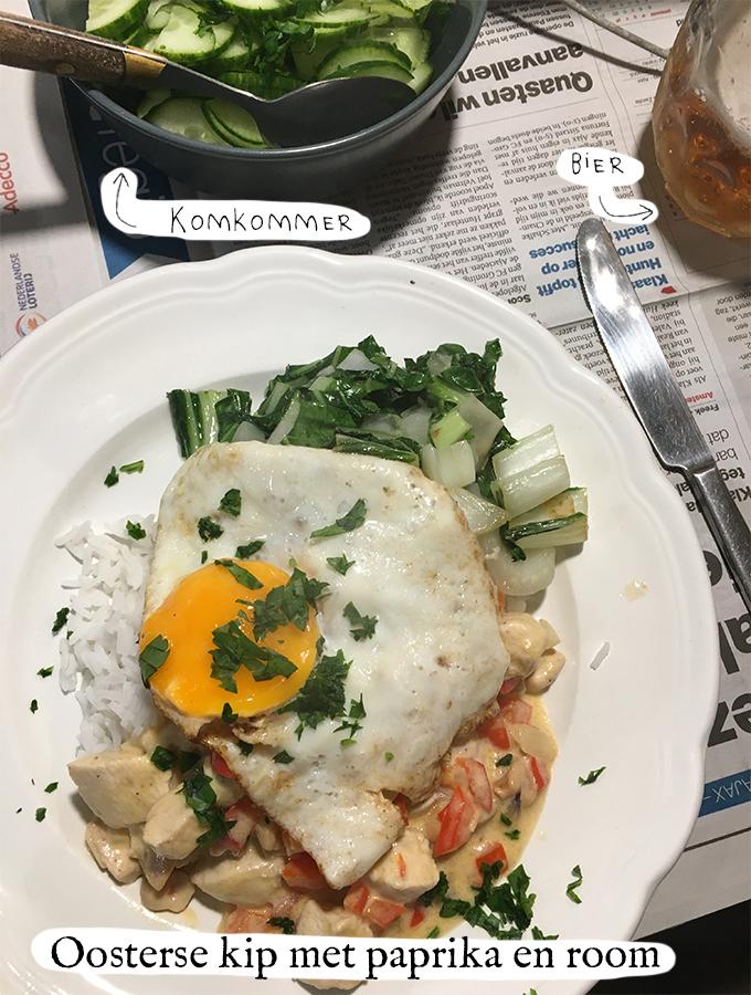 Oosterse kip met paprika, room en rijst